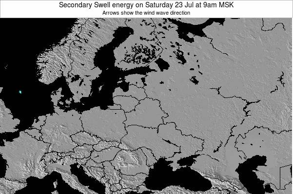 Latvia Secondary Swell energy on Tuesday 23 Oct at 3pm MSK map