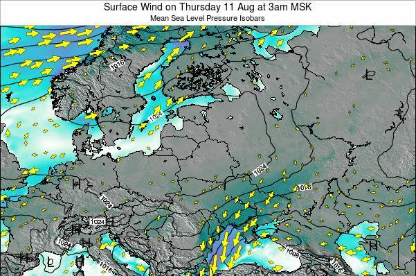 Latvia Surface Wind on Sunday 26 May at 3am FET map
