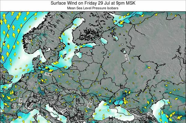 Latvia Surface Wind on Sunday 23 Jun at 9pm FET map