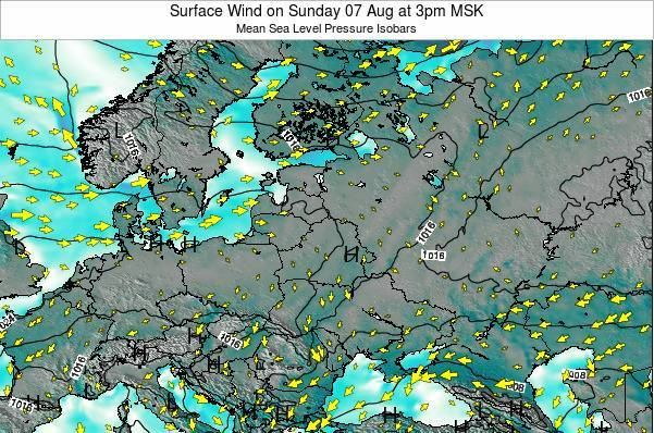 Latvia Surface Wind on Tuesday 21 May at 9pm FET