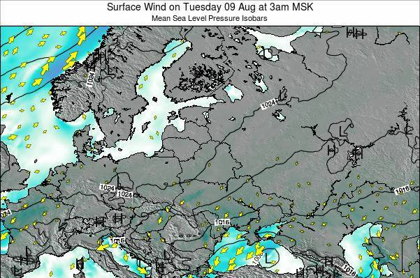 Latvia Surface Wind on Sunday 26 May at 3pm FET map