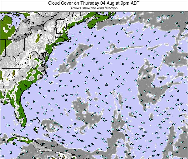 Bermuda Cloud Cover on Monday 28 Jul at 3pm ADT map