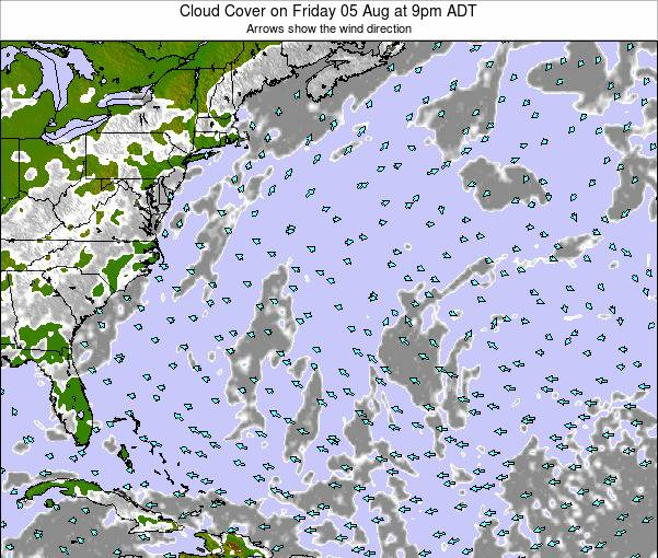Bermuda Cloud Cover on Tuesday 21 May at 9pm ADT map