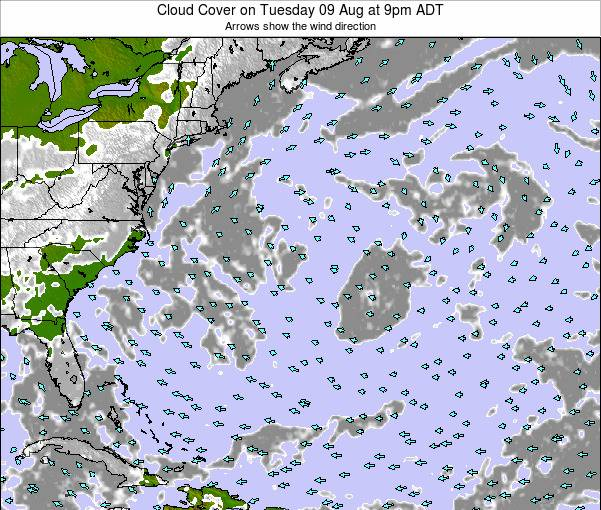 Bermuda Cloud Cover on Thursday 30 Jun at 9am ADT