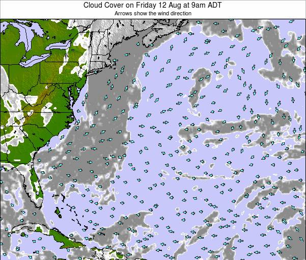 Bermuda Cloud Cover on Monday 16 Dec at 2pm AST