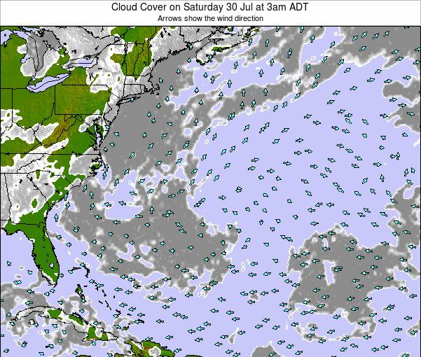 Bermuda Cloud Cover on Monday 28 Jul at 3pm ADT
