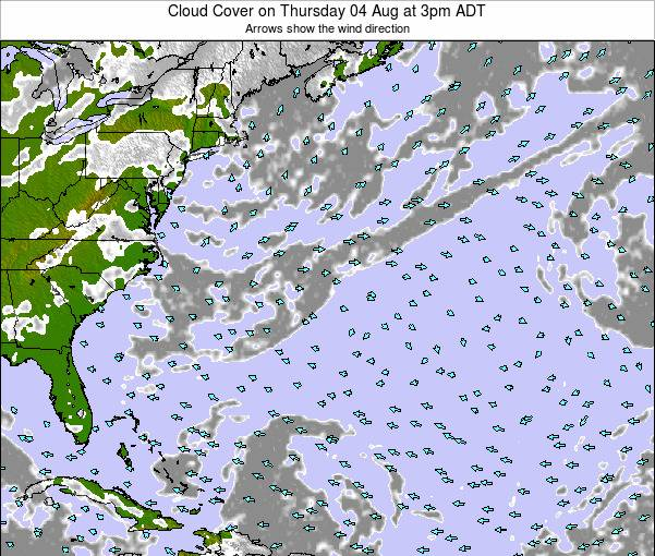 Bermuda Cloud Cover on Tuesday 02 Dec at 2am AST