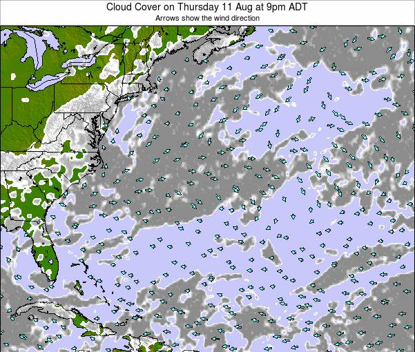Bermuda Cloud Cover on Monday 27 Oct at 9pm ADT