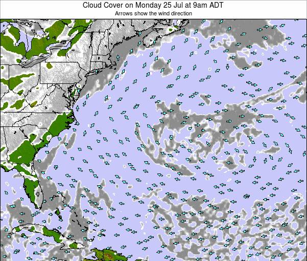 Bermuda Cloud Cover on Wednesday 22 Oct at 3am ADT