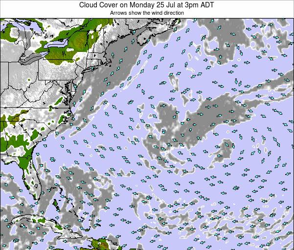 Bermuda Cloud Cover on Monday 27 May at 9pm ADT