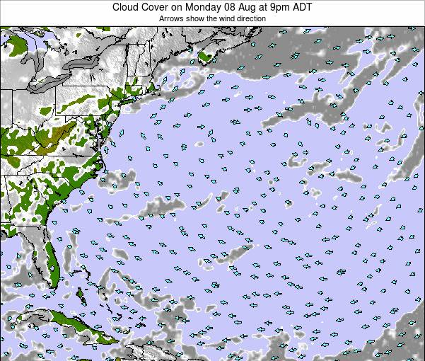 Bermuda Cloud Cover on Monday 27 Oct at 9am ADT