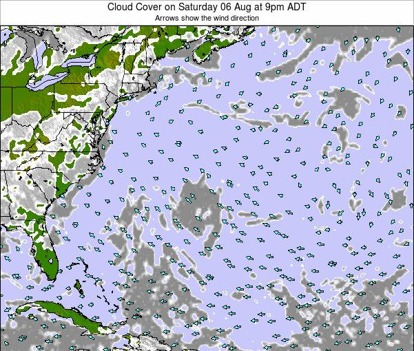 Bermuda Cloud Cover on Tuesday 13 Dec at 8am AST