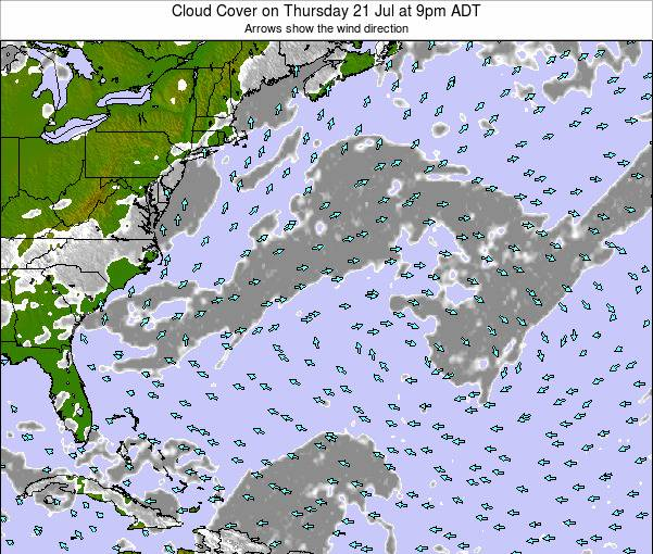Bermuda Cloud Cover on Wednesday 29 Jun at 9pm ADT