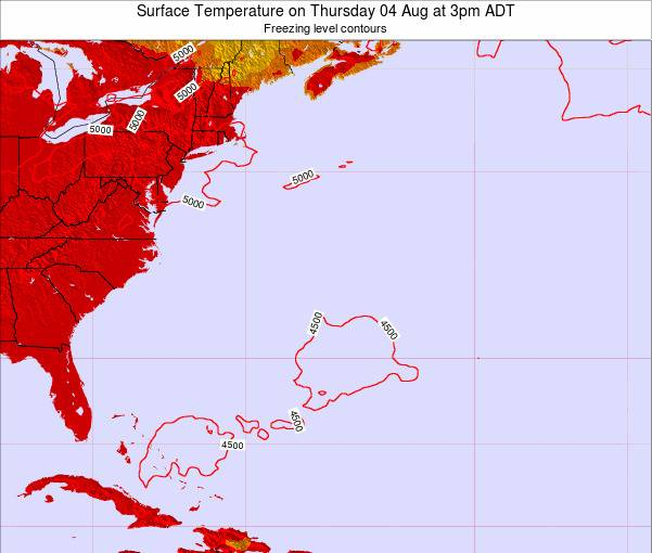 Bermuda Surface Temperature on Wednesday 29 May at 3pm ADT
