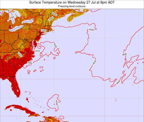 Bermuda Surface Temperature on Saturday 22 Jun at 9am ADT