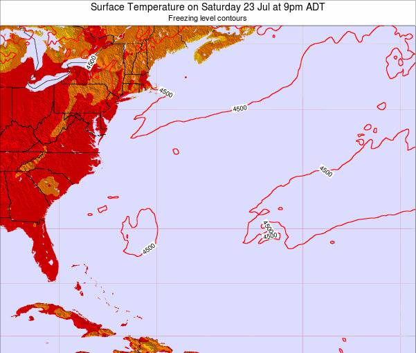 Bermuda Surface Temperature on Monday 27 May at 9pm ADT