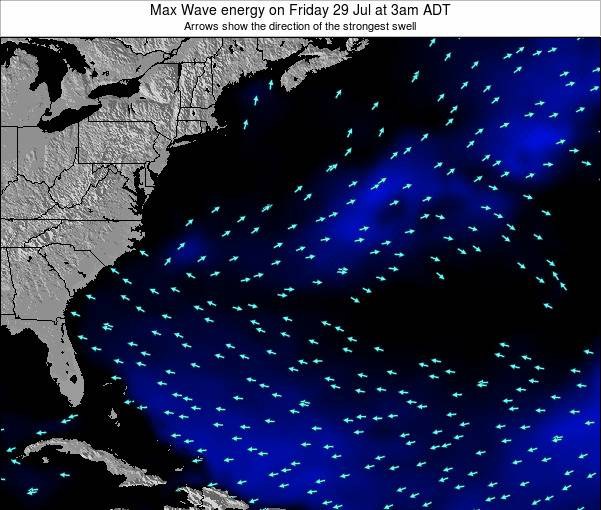 Bermuda Max Wave energy on Monday 17 Dec at 2am AST map