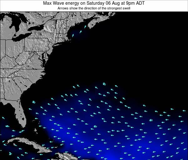 Bermuda Max Wave energy on Saturday 24 Mar at 3am ADT map