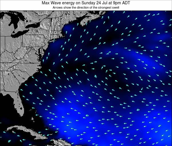 Bermuda Max Wave energy on Monday 25 Jun at 9pm ADT map