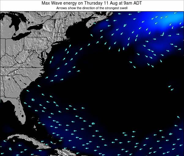 Bermuda Max Wave energy on Wednesday 25 Jul at 3pm ADT map
