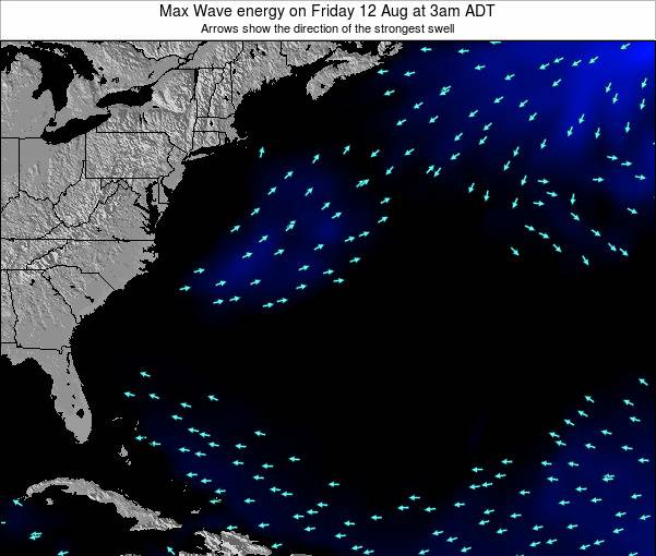 Bermuda Max Wave energy on Tuesday 23 Oct at 9am ADT map