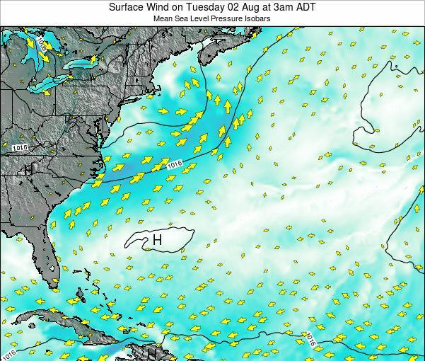 Bermuda Surface Wind on Wednesday 22 May at 9pm ADT map