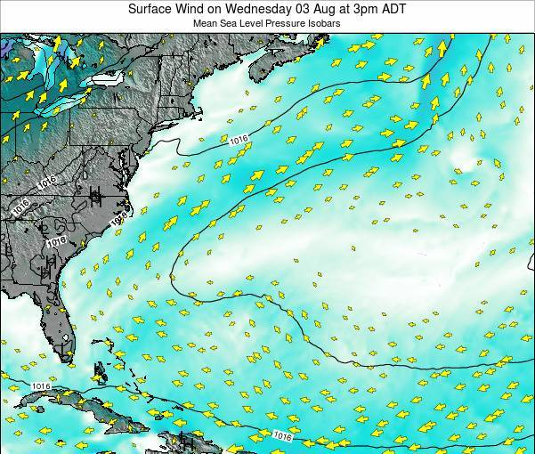Bermuda Surface Wind on Wednesday 16 Apr at 3am ADT map