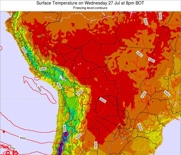 Bolivia Surface Temperature on Tuesday 28 May at 2pm BOT map