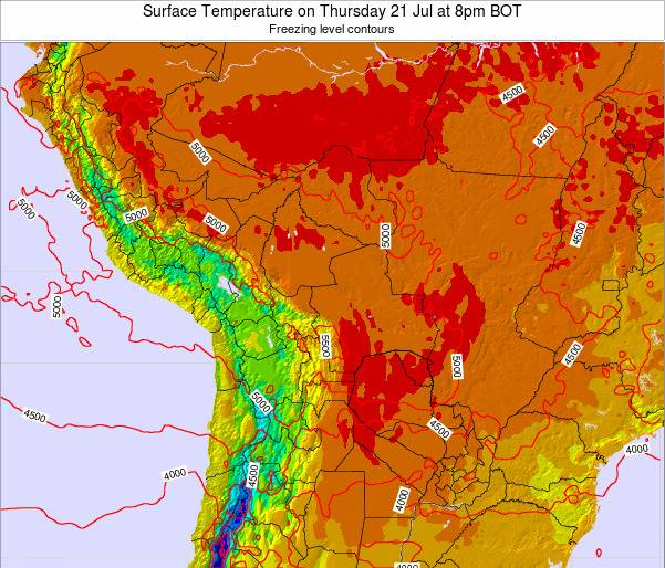 Bolivia Surface Temperature on Saturday 25 May at 2am BOT map