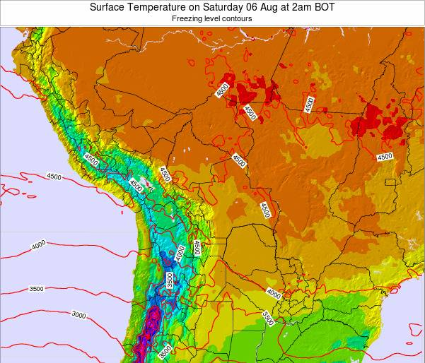 Paraguay Surface Temperature on Sunday 19 May at 2pm BOT map