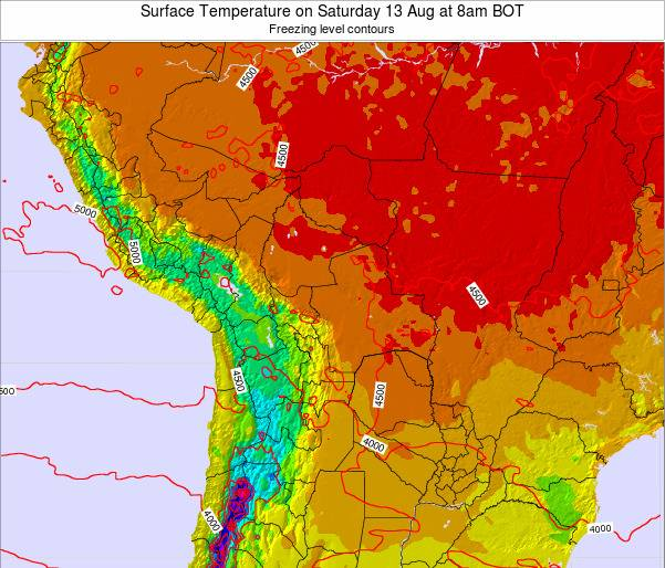 Paraguay Surface Temperature on Wednesday 29 May at 8pm BOT map