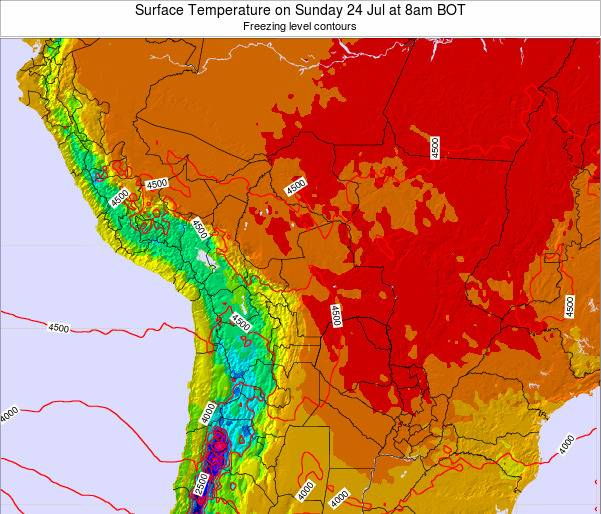 Bolivia Surface Temperature on Sunday 26 May at 2am BOT map
