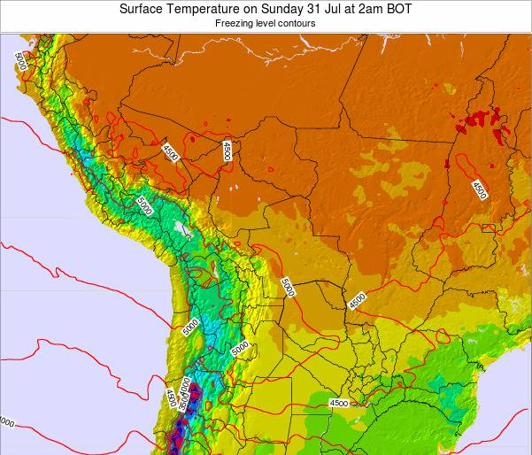 Bolivia Surface Temperature on Monday 27 May at 8pm BOT map