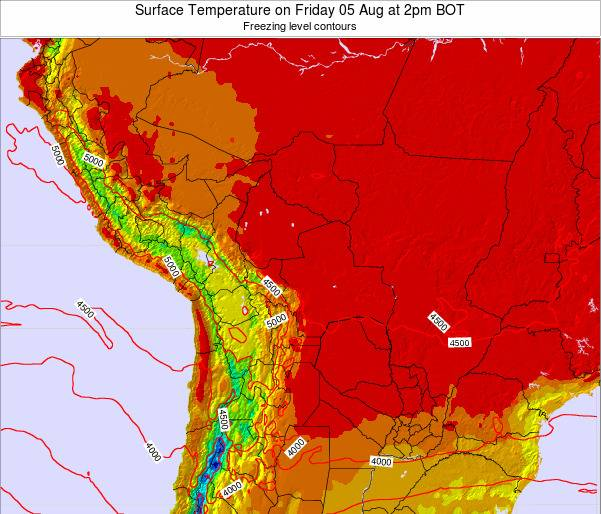 Bolivia Surface Temperature on Friday 31 May at 8am BOT map