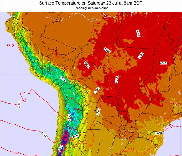 Paraguay Surface Temperature on Sunday 26 May at 8pm BOT map