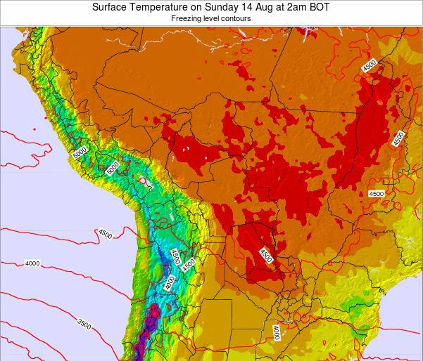 Bolivia Surface Temperature on Tuesday 28 May at 8pm BOT map
