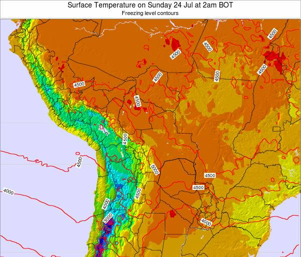 Paraguay Surface Temperature on Tuesday 21 May at 8pm BOT map