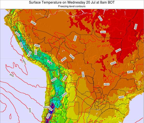 Bolivia Surface Temperature on Sunday 19 May at 2am BOT map
