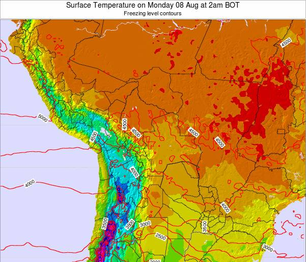 Bolivia Surface Temperature on Tuesday 22 Apr at 2pm BOT map