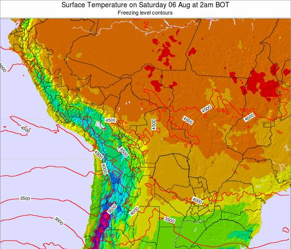 Bolivia Surface Temperature on Tuesday 29 Jul at 2am BOT map