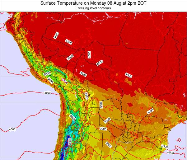 Bolivia Surface Temperature on Saturday 26 Jul at 8am BOT map