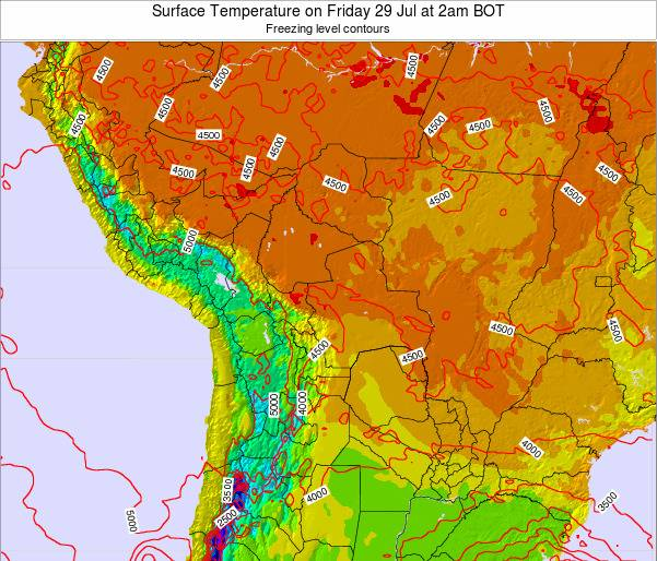 Bolivia Surface Temperature on Friday 24 May at 2pm BOT map