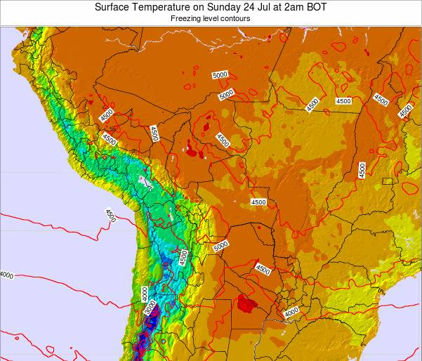 Bolivia Surface Temperature on Monday 15 Oct at 8pm BOT map