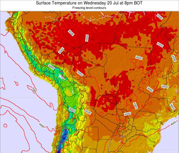 Paraguay Surface Temperature on Tuesday 21 May at 2am BOT map
