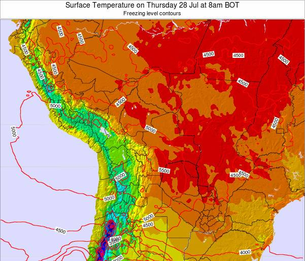 Bolivia Surface Temperature on Saturday 22 Jun at 8am BOT map