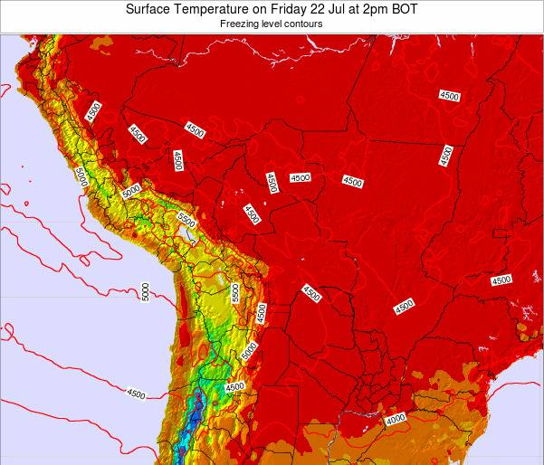 Paraguay Surface Temperature on Sunday 23 Jun at 2am BOT map