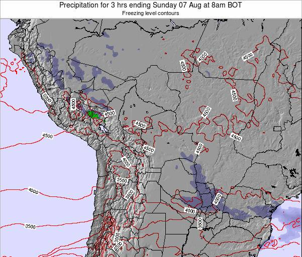 Bolivia Precipitation for 3 hrs ending Monday 10 Mar at 8pm BOT map