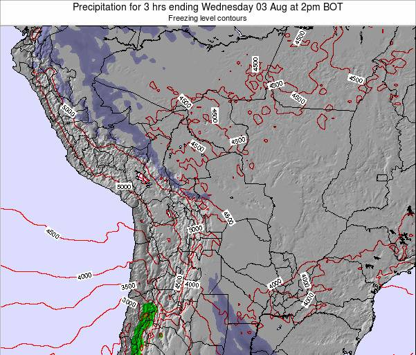 Bolivia Precipitation for 3 hrs ending Saturday 02 Aug at 2am BOT map