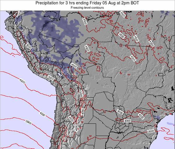 Bolivia Precipitation for 3 hrs ending Thursday 24 Jul at 2pm BOT map