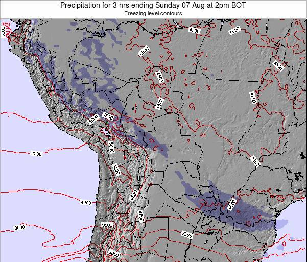 Bolivia Precipitation for 3 hrs ending Friday 13 Dec at 8am BOT map